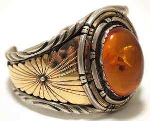 Amber Cuff Bracelet Navajo Gold Silver
